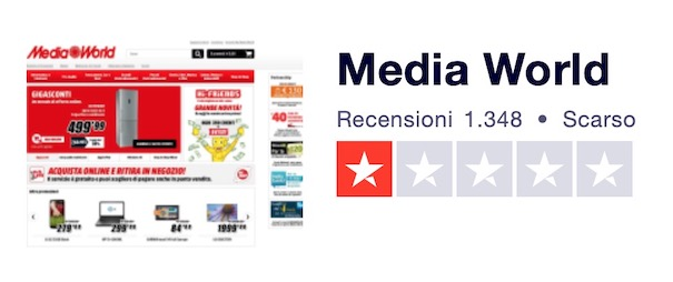 Recensione Mediaworld su Trustpilot